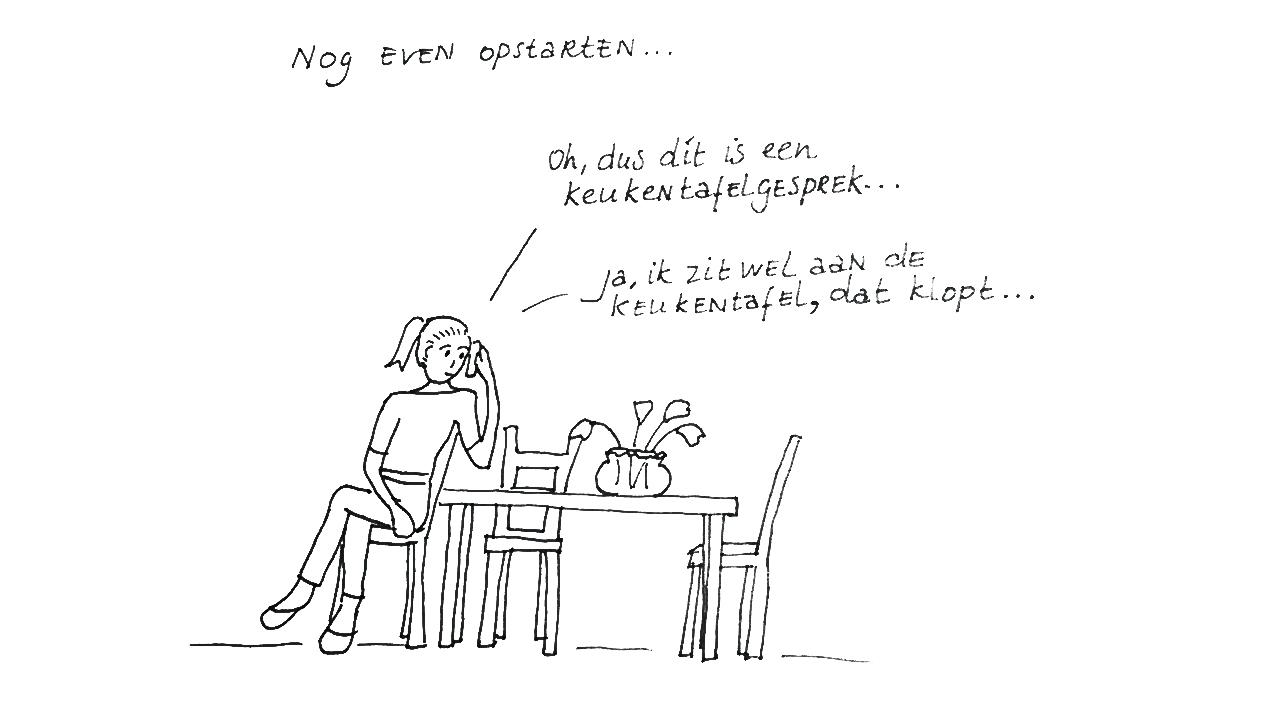 Keukentafelgesprek : Andersland-Cartoon-Opstarten-Keukentafelgesprek